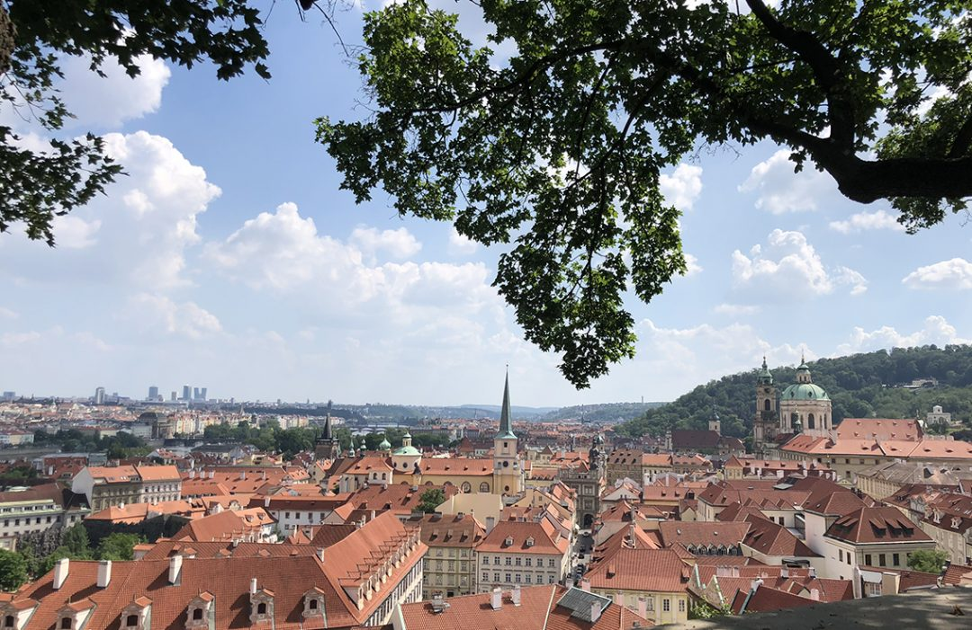 Mountaintop view of the city of Prague.