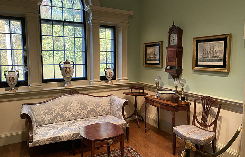 Winterthur Baltimore Drawing Room offers view of gardens.