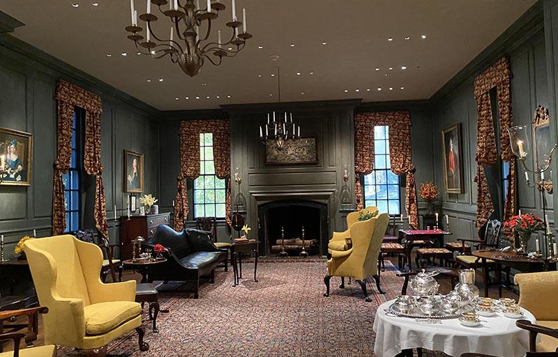 Winterthur Marlboro Room features bright yellow chairs.