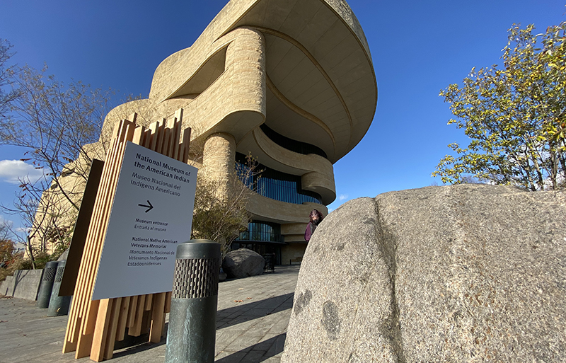 Boulders line entry at National Museum of American Indian.